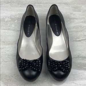 Marc Fisher Black Leather Flats Size 11